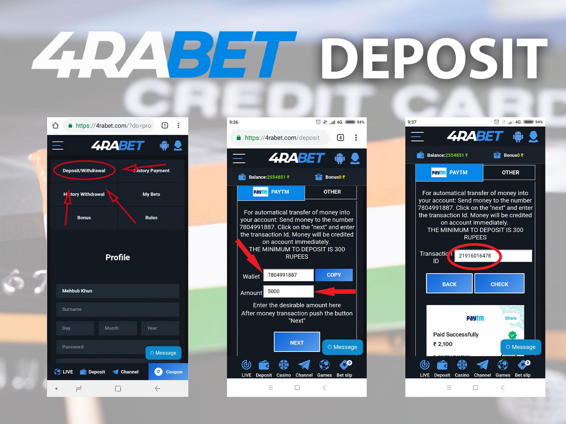 Methods of deposit and withdrawal in 4rabet.
