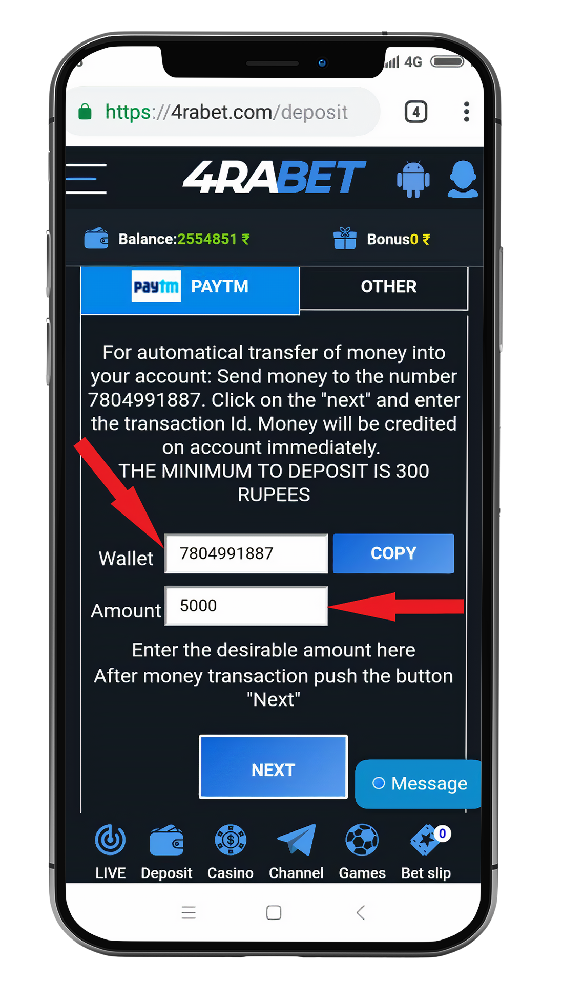 Wait untill money will reach your account and then, get your first deposit bonus and place bets.