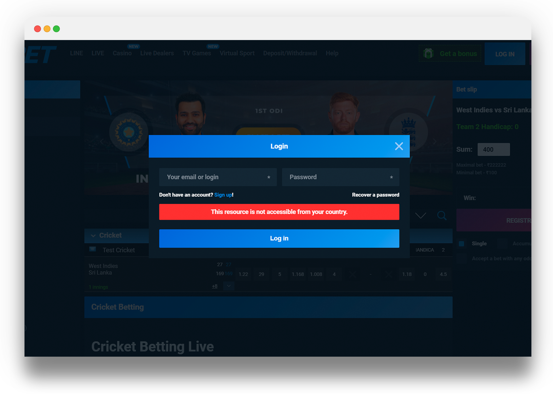 Now you can start betting via your PC or laptop.