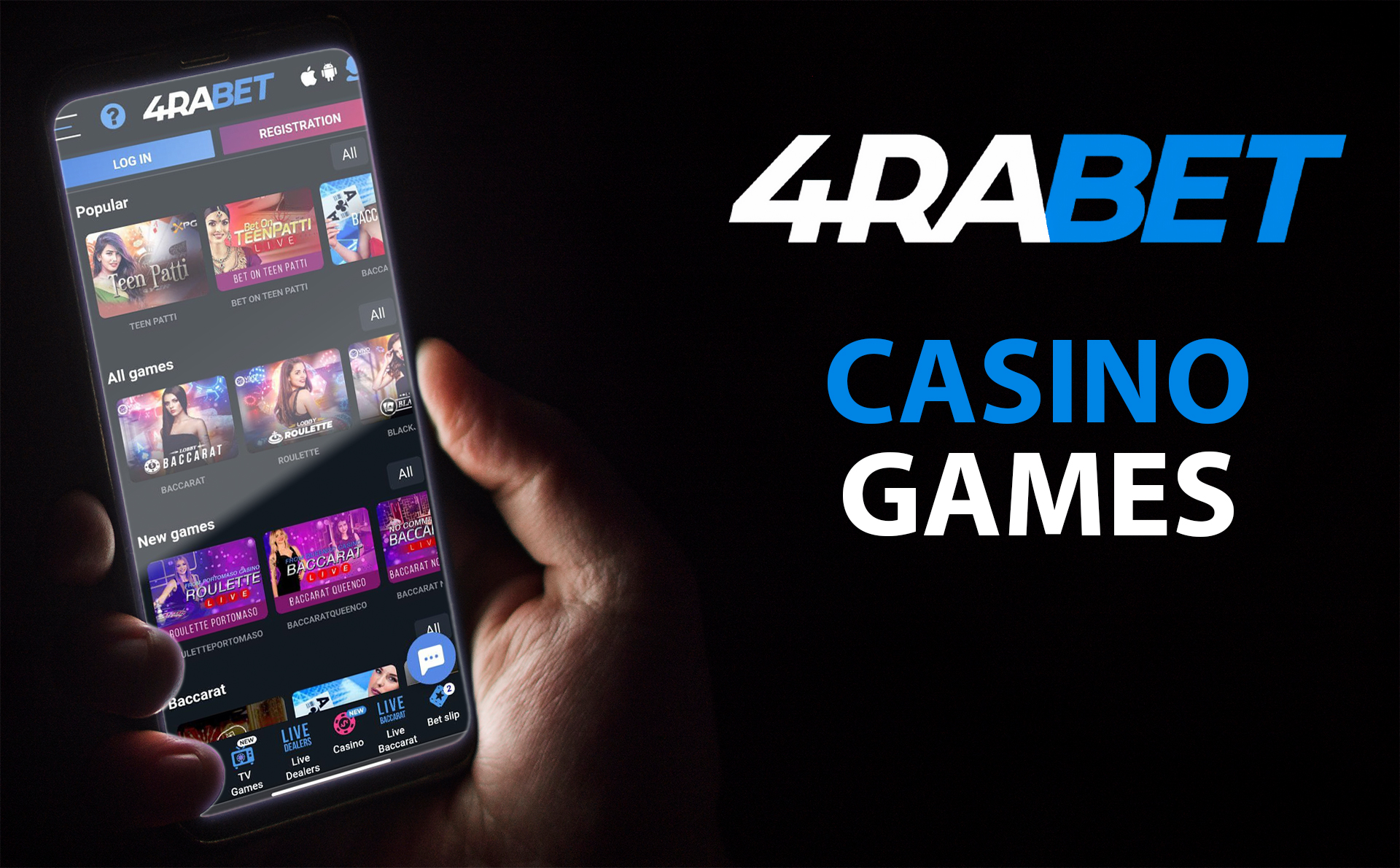 You can play all the favorite types of caino games at 4rabet.