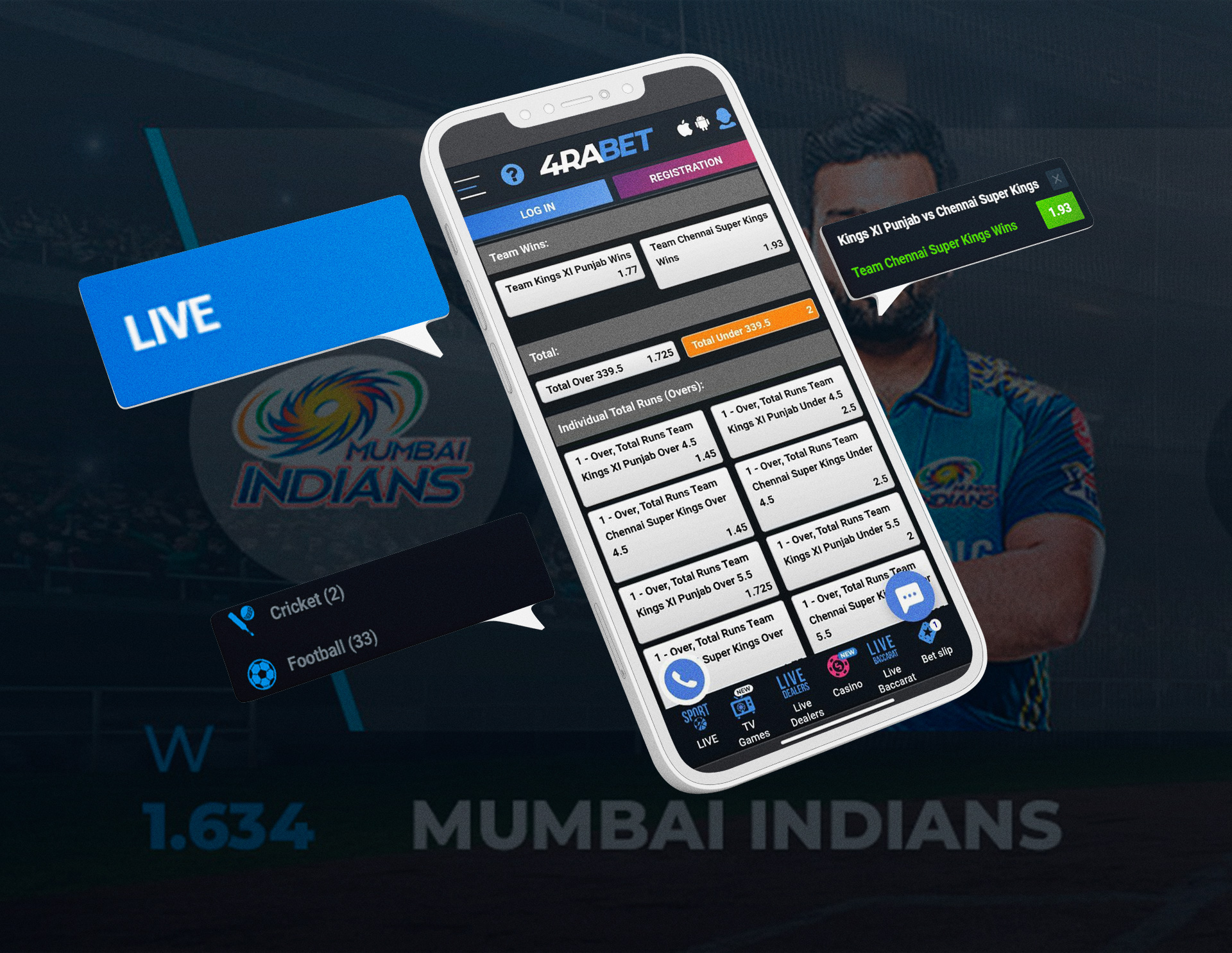 You should register at 4rabet and top up your account to place bets on cricket via your mobile phone.