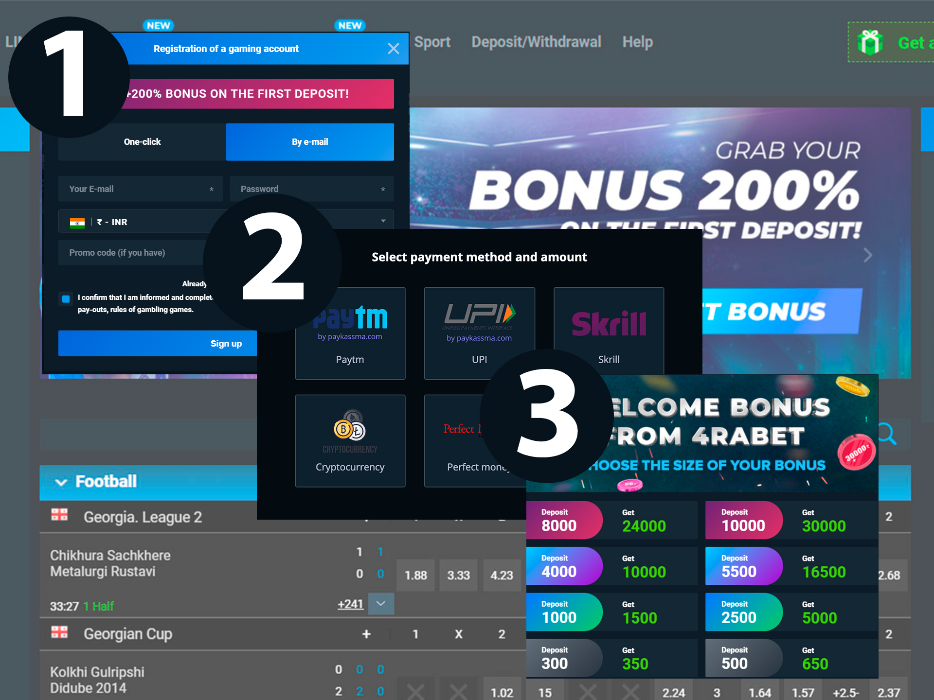 Make an account at 4rabet, top up it and get the bonus to start betting.
