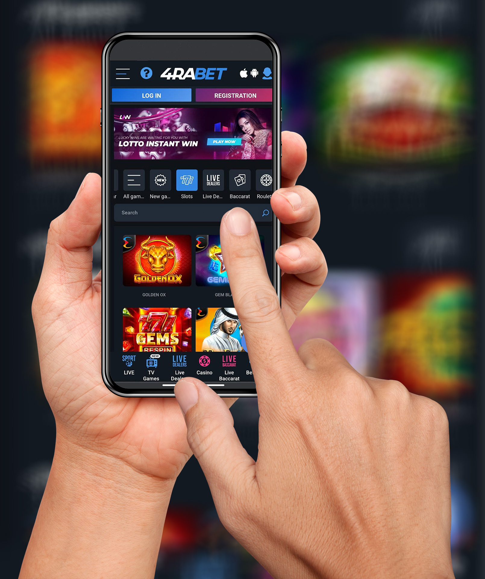 You can also play casino games via the 4rabet mobile app.