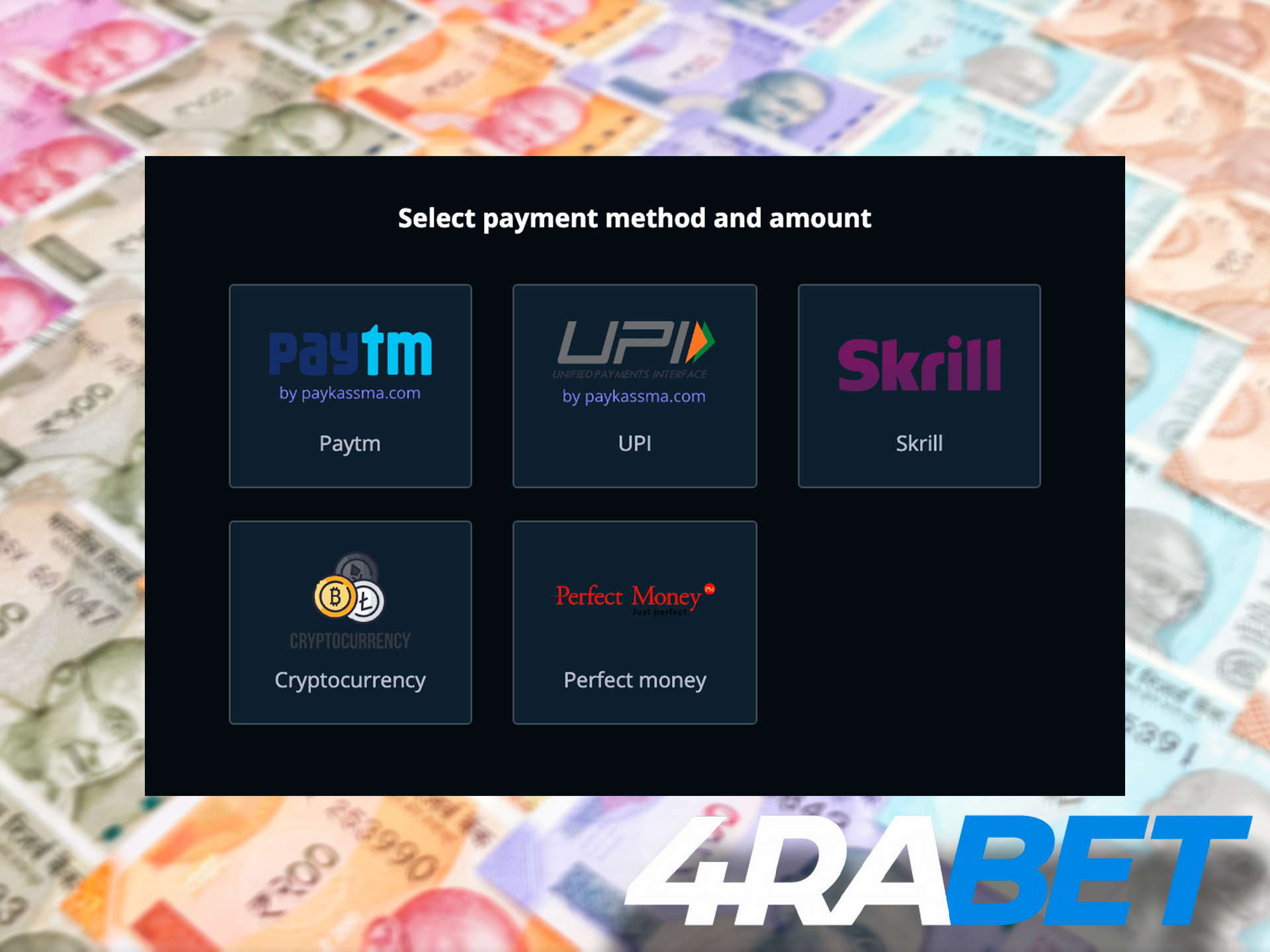 4rabet offers all the popular Indian payment methods to make deposits and withdrawals.