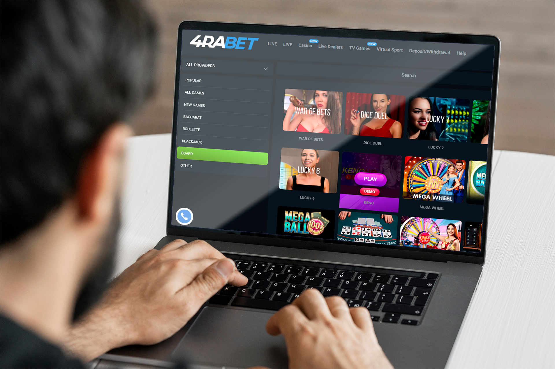 Play casino games with advantage at 4rabet.