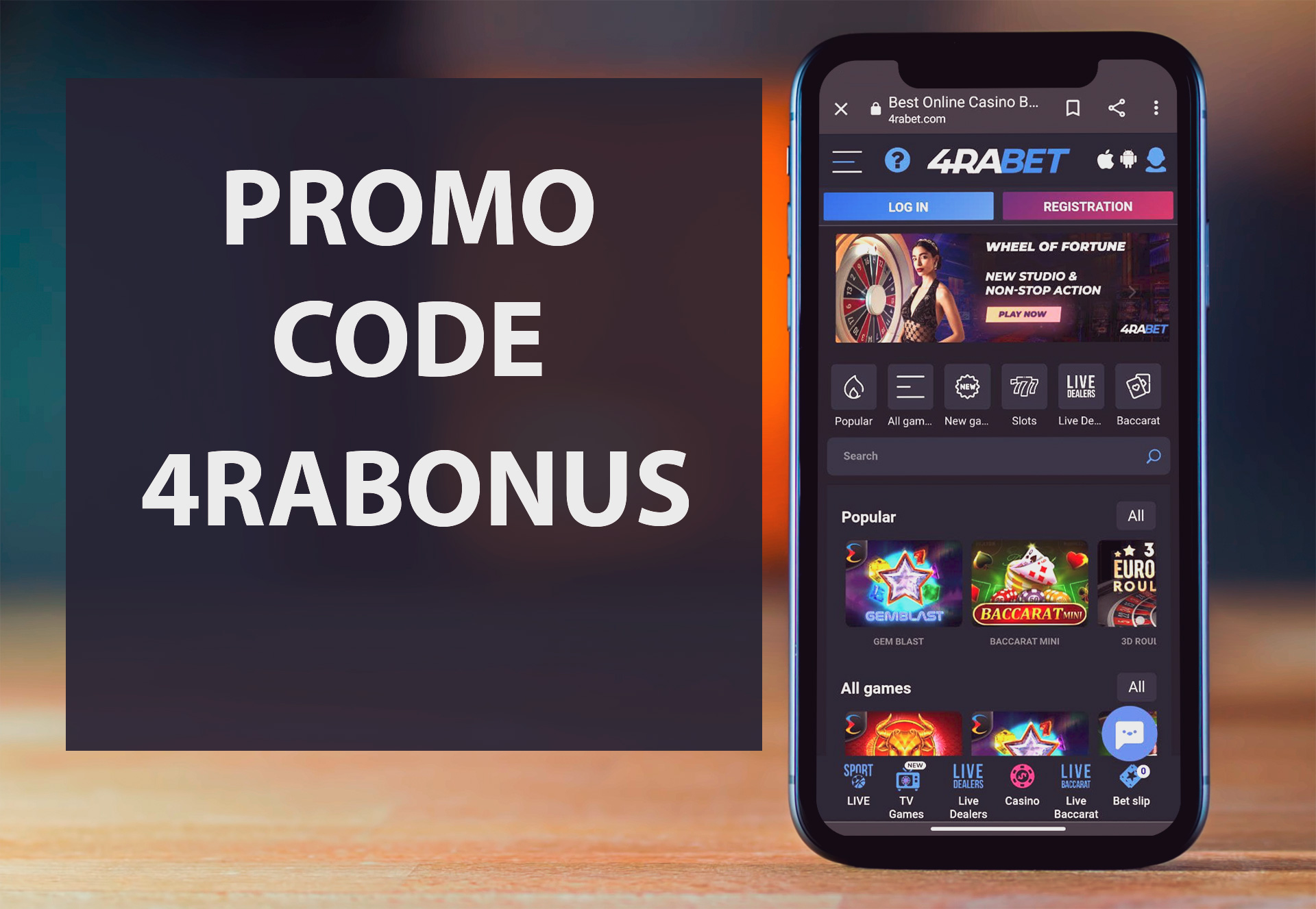 You can spend your bonus money on different casino games at 4rabet.