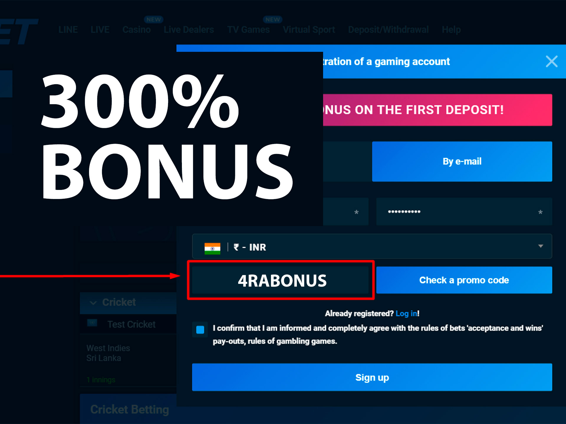 Enter our promo code while registering and get 300% bonus on your deposit.